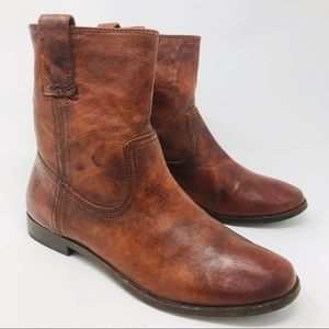 Frye Brown Leather Ankle Boots Booties Anna